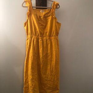 Short flutter sleeve yellow dress